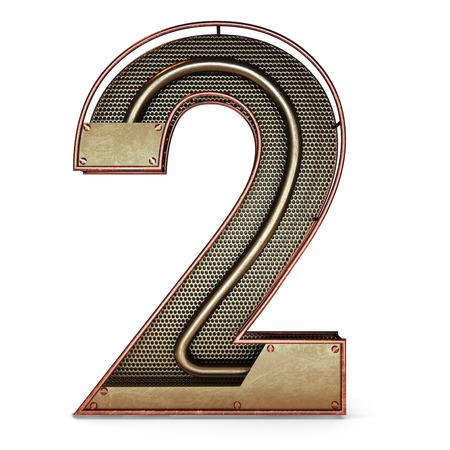 dois: 3d número dois 2 símbolo com metal ouro rústico, malha, com tubos de cobre e latão accents.Isolated em um fundo branco.
