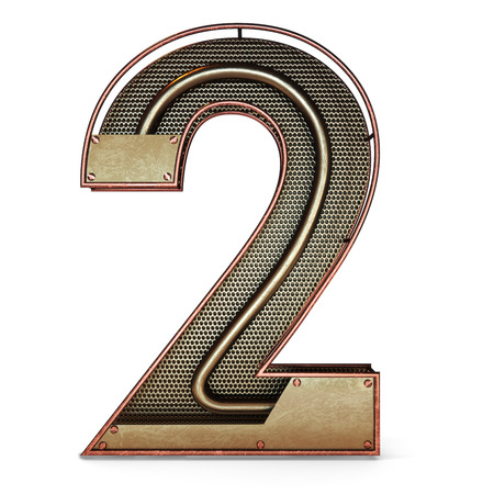 3d number two 2 symbol with rustic gold metal, mesh, tubes with copper and brass accents.Isolated on a white background. Banco de Imagens