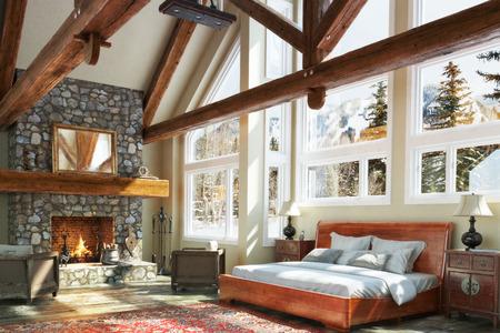 cabaña: Diseño interior del dormitorio de lujo abierta cabina baja con rugiente chimenea y el invierno fondo escénico. Foto realista escena modelo 3d.