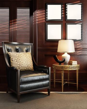 Mock-up in stijlvolle luxe kamer of kantoorruimte. Fotorealistische 3D render met ruimte voor tekst of kopie ruimte.