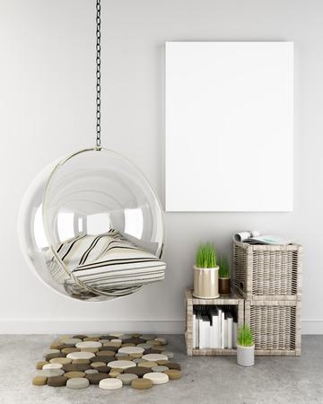 arte moderno: Maqueta p�ster en inconformista fondo interior, Foto realista render 3D escena.