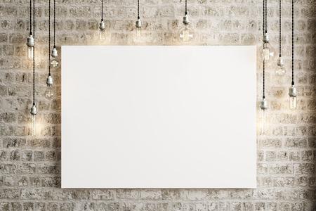 ladrillo: Maqueta remitente con lámparas de techo y un fondo de ladrillo rústico, Foto realista 3d. Foto de archivo