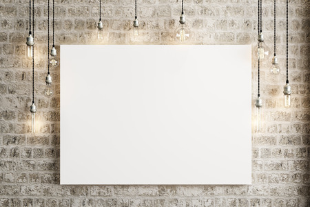 blank wall: Mock up poster with ceiling lamps and a rustic brick background, Photo realistic 3d illustration.