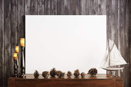 rustic wood: Mock up poster with candles and a rustic wood background, Photo realistic 3d illustration.