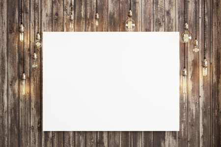 blank canvas: Mock up poster with ceiling lamps and a rustic wood background, Photo realistic 3d illustration. Stock Photo