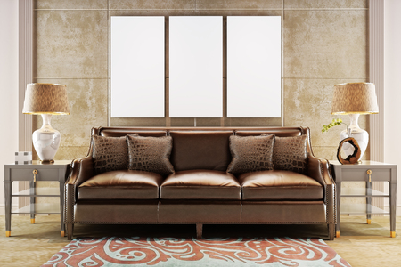leather sofa: Mock up posters with leather sofa couch. Photo realistic 3d illustration Stock Photo