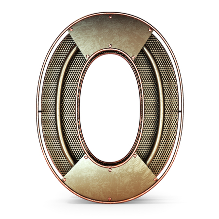 3d number zero 0 symbol with rustic gold metal, mesh, tubes with copper and brass accents.Isolated on a white background. Stock Photo