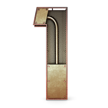 3d number one 1 symbol with rustic gold metal, mesh, tubes with copper and brass accents.Isolated on a white background.