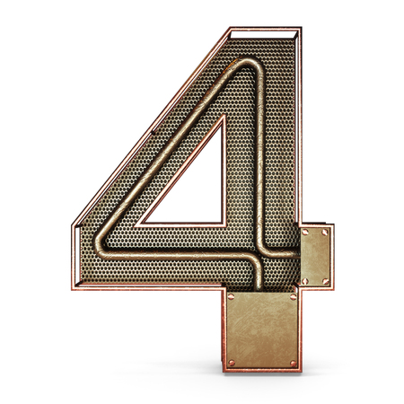 3d number four 4 symbol with rustic gold metal, mesh, tubes with copper and brass accents.Isolated on a white background.