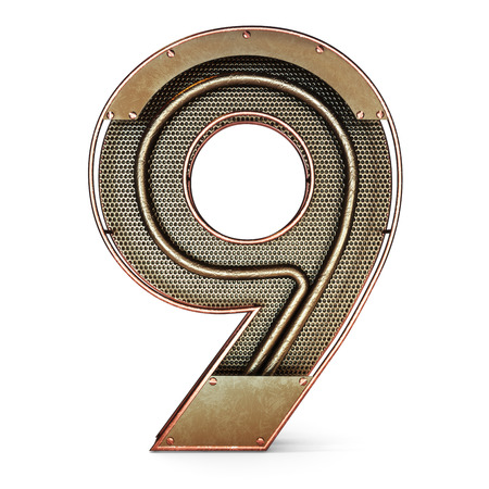 3d number nine 9 symbol with rustic gold metal, mesh, tubes with copper and brass accents.Isolated on a white background. Reklamní fotografie