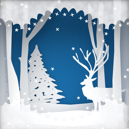 Christmas holiday background scene with reindeer and Christmas tree with room for text or copy space advertisement.