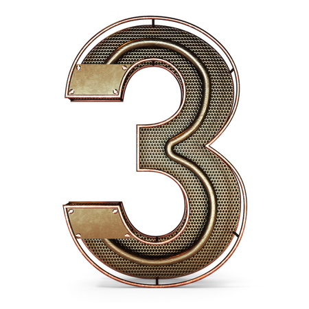 3d number three 3 symbol with rustic gold metal, mesh, tubes with copper and brass accents.Isolated on a white background. Stock Photo