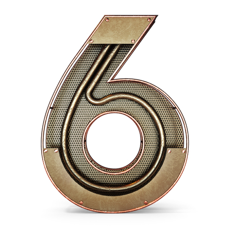 3d number six 6 symbol with rustic gold metal, mesh, tubes with copper and brass accents.Isolated on a white background. Standard-Bild