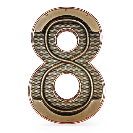 3d number eight 8 symbol with rustic gold metal, mesh, tubes with copper and brass accents.Isolated on a white background.