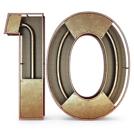 numero diez: 3d el número diez 10 rústico símbolo con el metal de oro, malla, con tubos de cobre y latón accents.Isolated sobre un fondo blanco. Foto de archivo