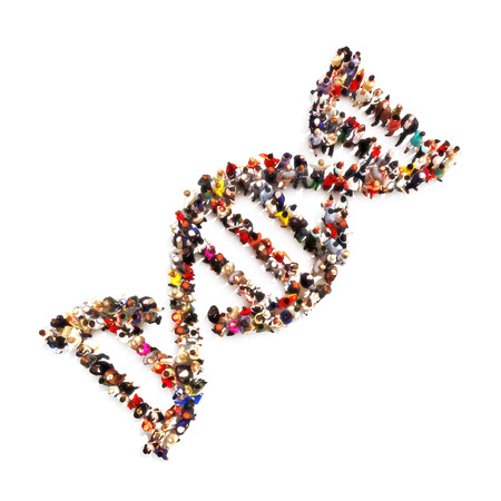 DNA foot print. Large group of people in the shape of a DNA symbol on a white background. Medical DNA ,genealogy, biology concept. Stock Photo