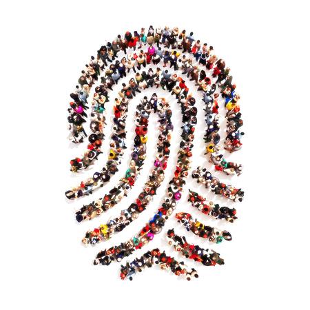 khái niệm: Nhóm lớn pf người trong hình dạng của một dấu vân tay trên một nền trắng bị cô lập. Mọi người tìm kiếm có danh tính, đánh cắp nhận dạng, cá tính khái niệm.