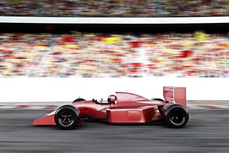 Motor Carrera rojo Vista lateral del coche en una pista a la cabeza con el desenfoque de movimiento.