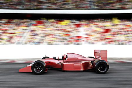 powerful: Motor sports red race car side view on a track leading the pack with motion Blur.