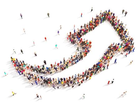 Mensen met een richting. Grote groep mensen in de vorm van een pijl naar boven symboliseert richting, vooruitgang of groei.