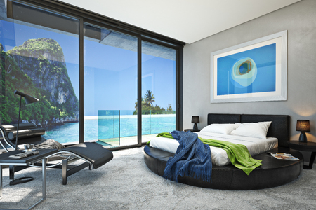 beach window: Modern bedroom with a view of a magnificent seaside ocean cove. Photo realistic 3d rendering.