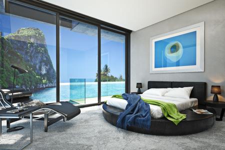 Modernes Schlafzimmer mit Blick auf einen herrlichen Meer Meeresbucht. Fotorealistische 3D-Rendering. Lizenzfreie Bilder