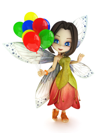 Cute toon fairy with wings smiling holding balloons on a white isolated background. Part of a little fairy series.