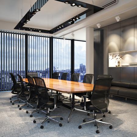 Executive-moderne leeren Geschäftslokal Konferenzraum, eine Stadt mit Blick auf. Fotorealistische 3D-Modell-Szene.