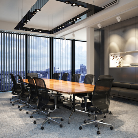 oficina: habitación ejecutiva vacío moderna oficina de negocios de conferencias con vistas a una ciudad. Foto realista escena de modelos 3D. Foto de archivo