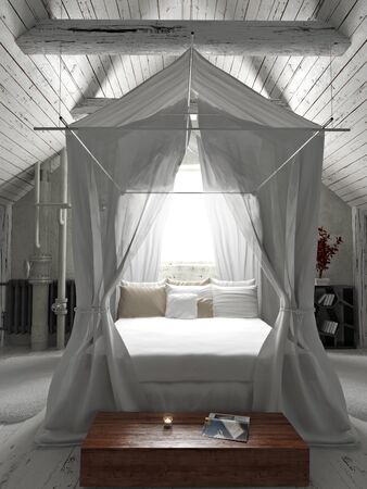 charming: Rustic charming bedroom with draped canopy bed . Photo realistic 3d rendering Stock Photo