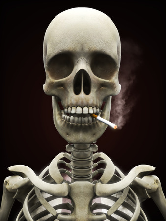 Dangers of smoking concept, Skeleton smoking a lit cigarette with simulated lungs filled with smoke on a slightly black background. Stock Photo