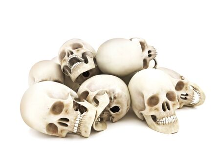 dying: Pile of Human skulls isolated on a white background