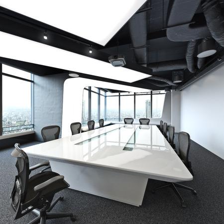 이그 제 큐 티브 고층 현대 빈 비즈니스 사무실 회의실 도시를 내려다. 사진 현실적인 3 차원 렌더링
