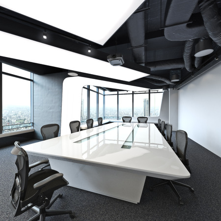 Executive high rise modern empty business office conference room overlooking a city. Photo realistic 3d rendering