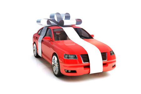 The big gift, Red generic car model with a silver bow isolated on a white background.