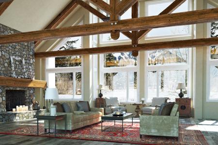 cabaña: cabina de piso abierto diseño de la habitación de la familia interior de lujo con la vela encendida chimenea de piedra y el invierno fondo escénico. Foto realista representación 3D Foto de archivo