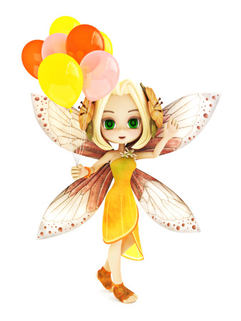 tiptoe: Cute toon fairy with wings smiling holding balloons on a white isolated background. Part of a little fairy series.