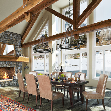 Luxurious open floor cabin interior dinning room design with roaring stone fireplace and winter scenic background. Photo realistic 3d rendering