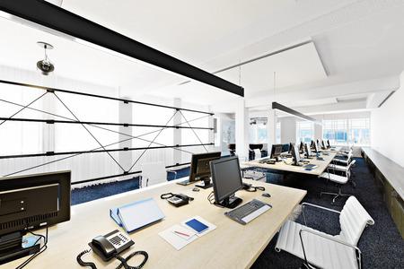 muebles de oficina: Sala de gran altura funcional contemporánea moderna oficina de negocios de conferencias con vistas a una ciudad. Foto realista representación 3D Foto de archivo