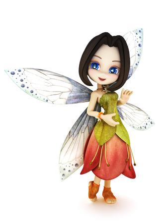 Cute toon fee met vleugels glimlachend op een witte achtergrond geïsoleerd. Een deel van een kleine fee serie.