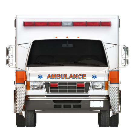 first responder: Ambulance illustration front view on a white background, part of a first responder series