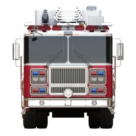 Genérico camión de bomberos vista frontal ilustración sobre un fondo blanco, parte de una primera serie de respuesta