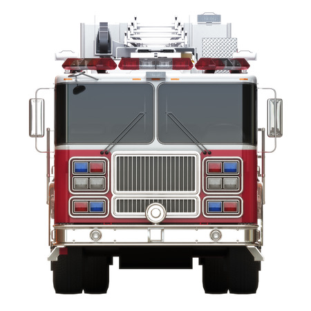 first responder: Generic firetruck illustration front view on a white background, part of a first responder series Stock Photo
