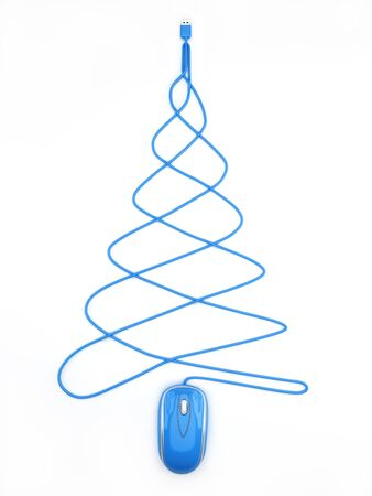 christmas savings: Online Holiday shopping concept, blue computer mouse in the shape of a Christmas tree on a white background