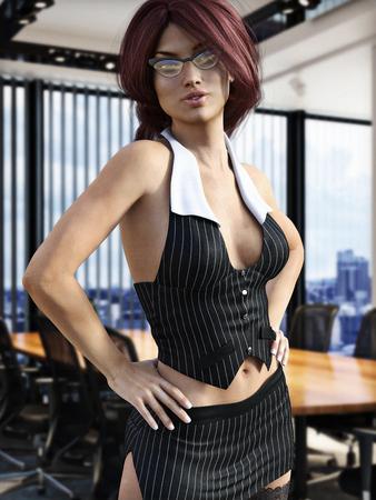 De secretaris, Sexy vrouwen in verleidelijke kleding stellen in een kantoor. Fotorealistische 3D-model scene.