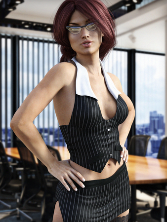 The secretary, Sexy female in seductive clothing posing in a business office. Photo realistic 3d model scene.