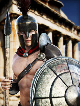 Spartan Warrior posing in front of Greek architecture . Photo realistic 3d model scene .