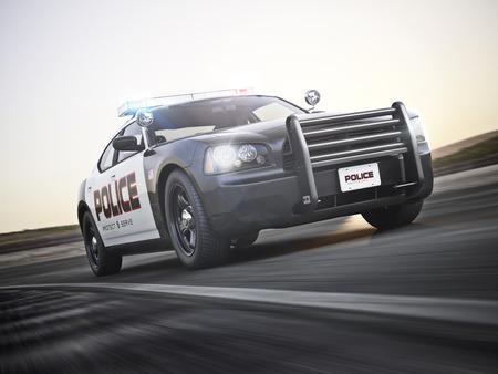 Auto della polizia in esecuzione con luci e sirene su una strada con motion blur. Foto realistico modello di scena 3D.