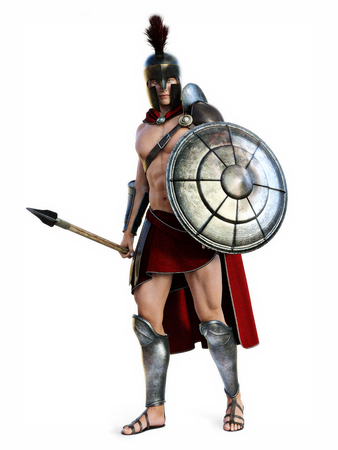 The Spartan , Full length illustration of a Spartan in Battle dress posing on a white background. Photo realistic 3d model scene. Archivio Fotografico
