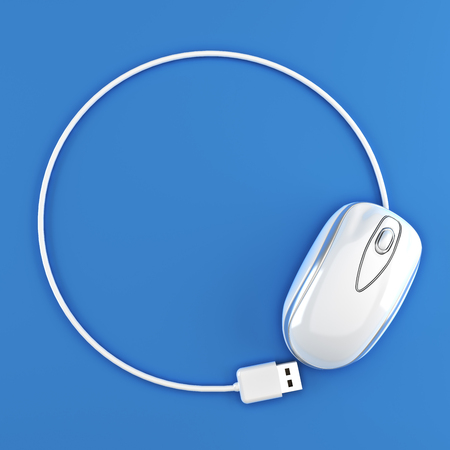 room for your text: White mouse in the shape of a circle with room for your text or copy space advertisement on a blue background.